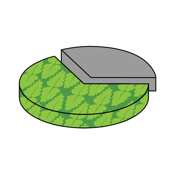 cartoon pie chart with large green piece