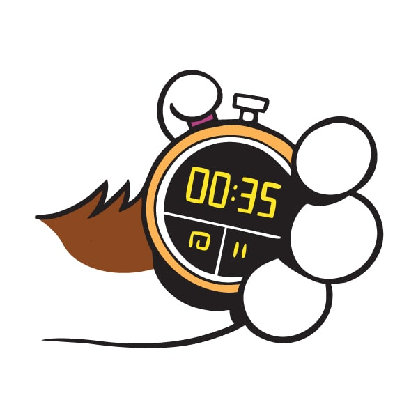 cartoon sketch of cats paw holding a stopwatch
