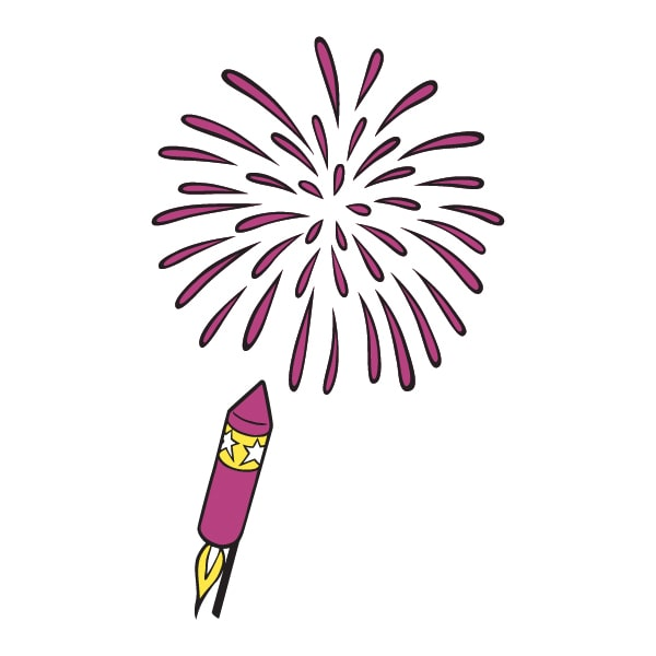 cartoon illustration of firework rocket and explosion