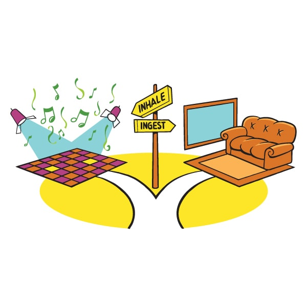 cartoon illustration of intersection towards a dancefloor and brown recliner chair