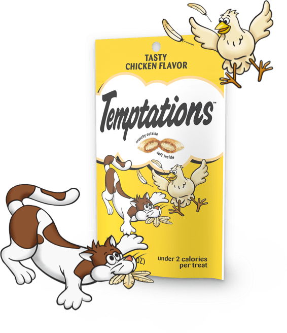 yellow bag of temptations chicken flavor treats