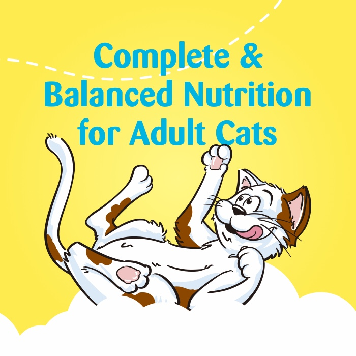 "animated white and brown cat rolling on a white cloud with the words above stating ""complete & balanced nutrition for adult cats"""