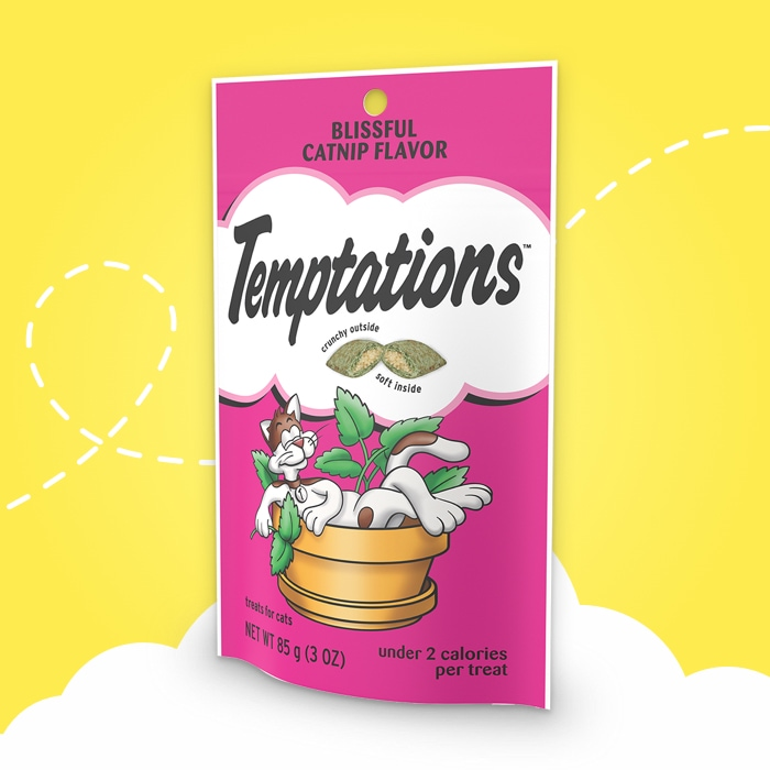 pink bag of temptations blissful catnip flavor treats on yellow background