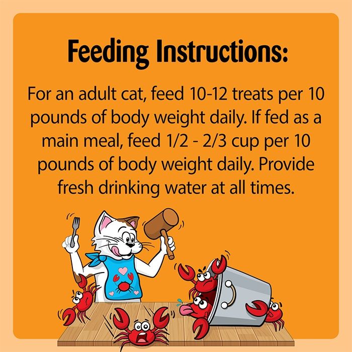 """feeding instructions chart for temptations crab flavored treats saying """"feed 10-12 pouches daily per 10 pounds of cat body weight"""""""