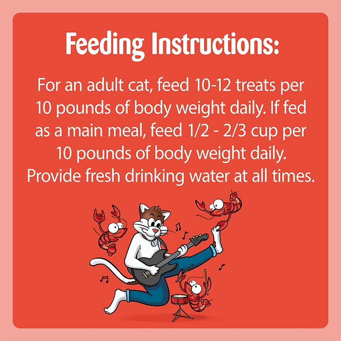 """feeding instructions chart for temptations rockin lobster saying """"feed 10-12 pouches daily per 10 pounds of cat body weight"""""""