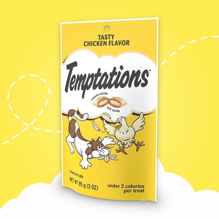 yellow bag of temptations chicken flavored treats on yellow background