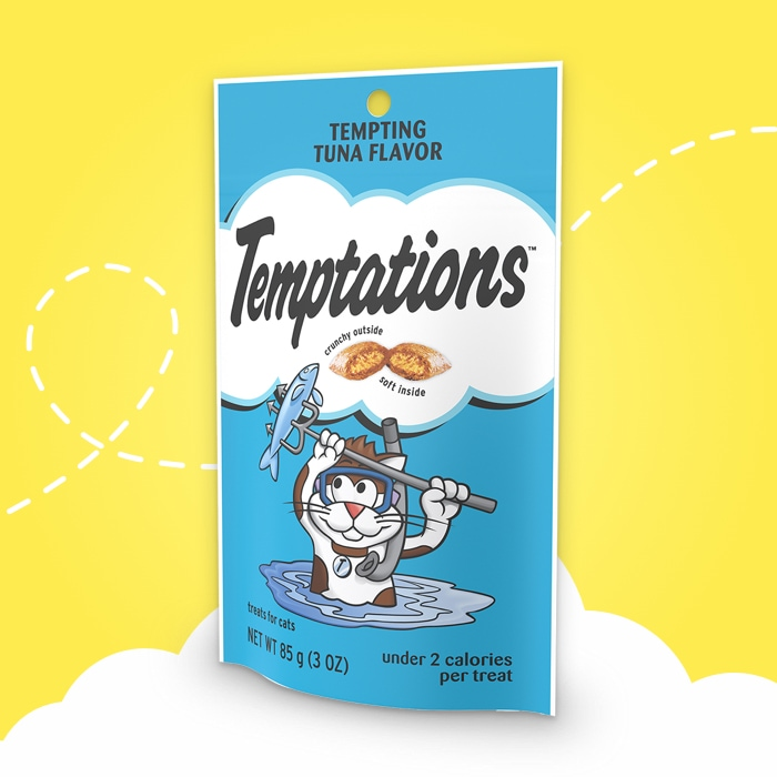 blue bag of temptations tempting tuna flavored treats on yellow background