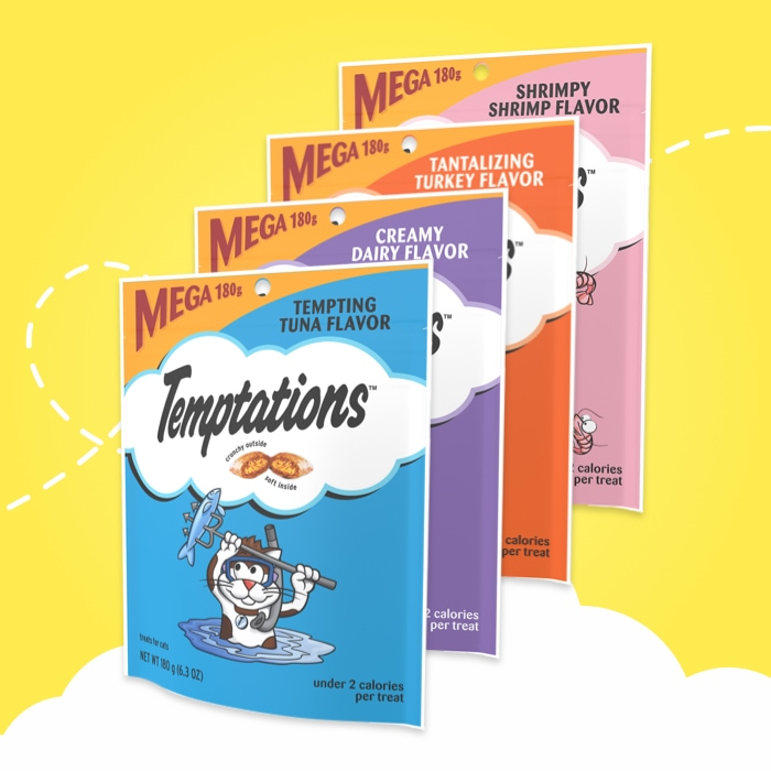 six bags of different temptations flavors variety pack on yellow background