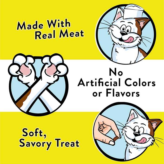 """Temptations® graphic saying """"made with real meat"""" and """"no artificial colors or flavors"""""""