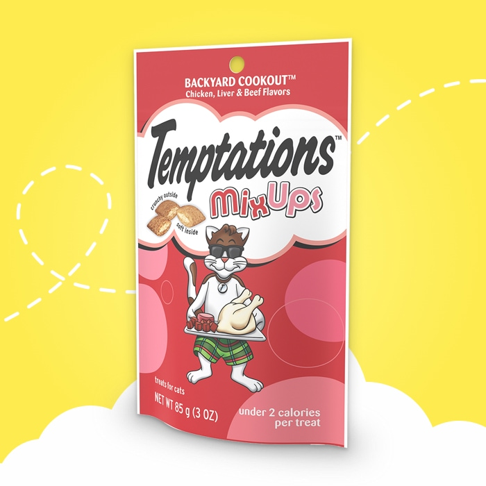 light red bag of temptations mixups backyard cookout  on yellow background