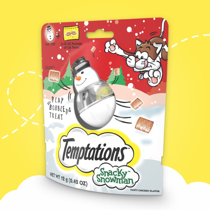red and white bag of temptations snacky snowman temptations treats on yellow background